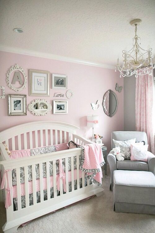 Soft and Elegant Gray and Pink Nursery | KENDALL MAE | Nursery, Baby