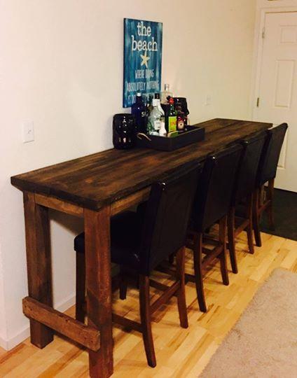 8ft long bar table & chairs | DIY HandBuilt Furniture | Table, Bar