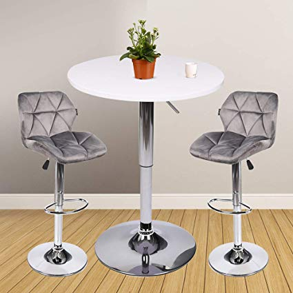 Amazon.com - 3 Pieces Bar Table Set 24 inch Round Height Adjustable