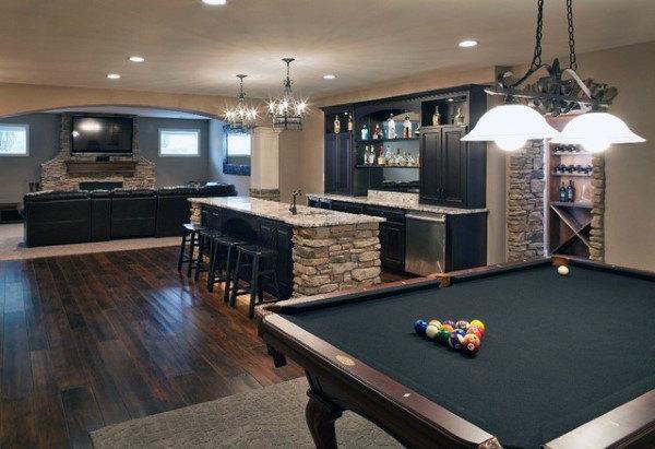 70 Home Basement Design Ideas For Men - Masculine Retreats