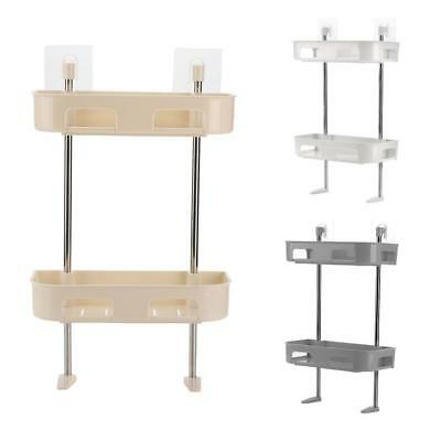 DOUBLE TIER BATHROOM Caddy Shower Organiser Shelf Wall-Mounted