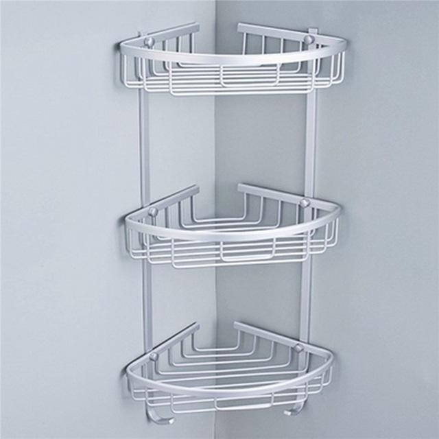 3 Sizes Space Aluminum Triangular Shower Caddy Shelf Bathroom Corner