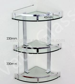 Bathroom Glass Corner Shelf/kitchen Glass Shelf / Three Layers Glass