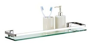 Organize It All Wall Mounting Bathroom Glass Shelf with Chrome
