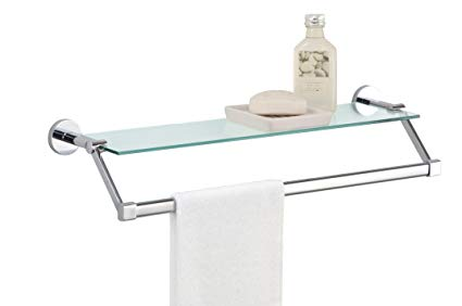 Amazon.com: Organize It All Bathroom Glass Shelf with Chrome Towel
