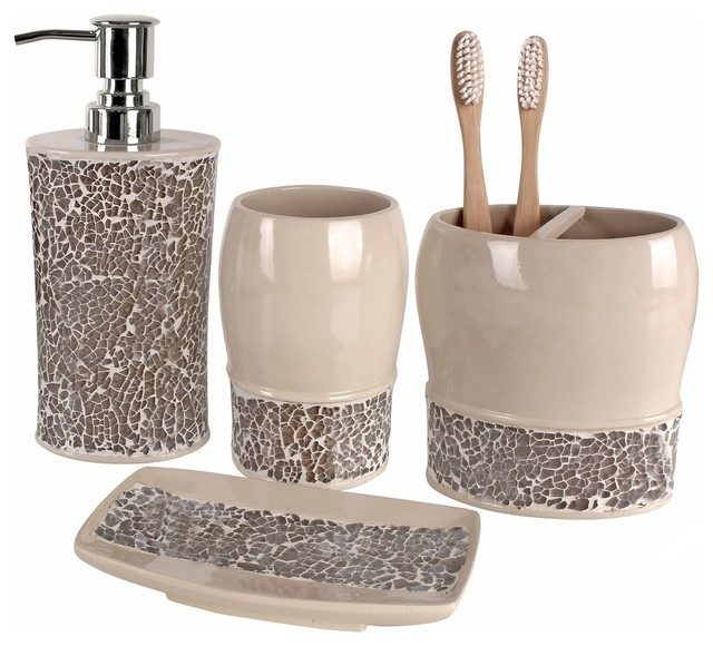 Broccostella 4-Piece Bath Accessory Set - Contemporary - Bathroom