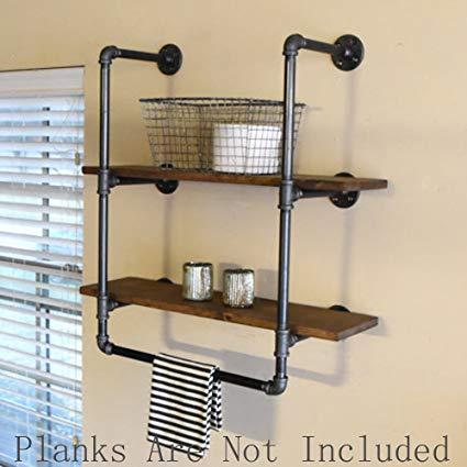 Amazon.com: FOF Industrial Retro Wall Mount Iron Pipe Shelf,Bathroom