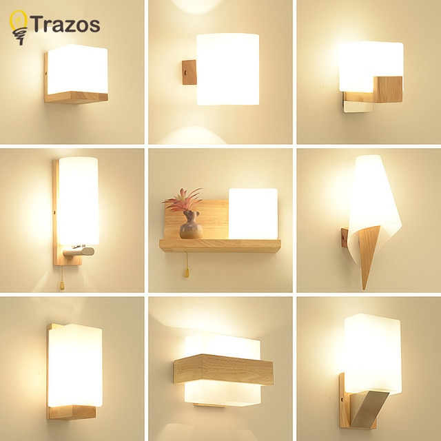 TRAZOS Nordic Wood Wall Lamps Modern Wall Mounted Luminaire Iron
