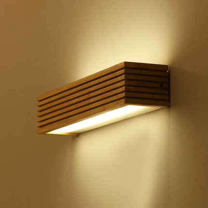 Modern Japanese Style Led Lamp Oak wooden Wall Lamp Lights Sconce