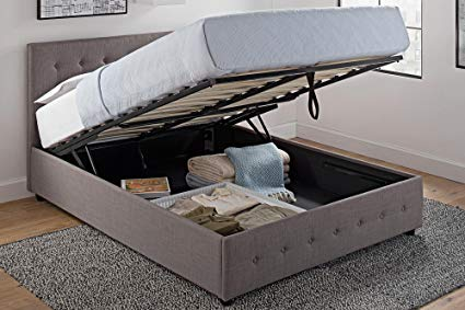 Amazon.com: DHP Cambridge Upholstered Linen Platform Bed with Wooden