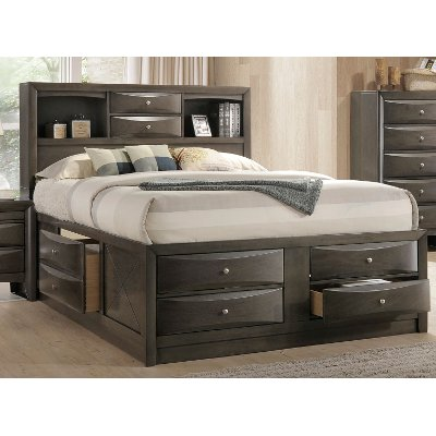Contemporary Gray King Size Storage Bed - Emily | RC Willey