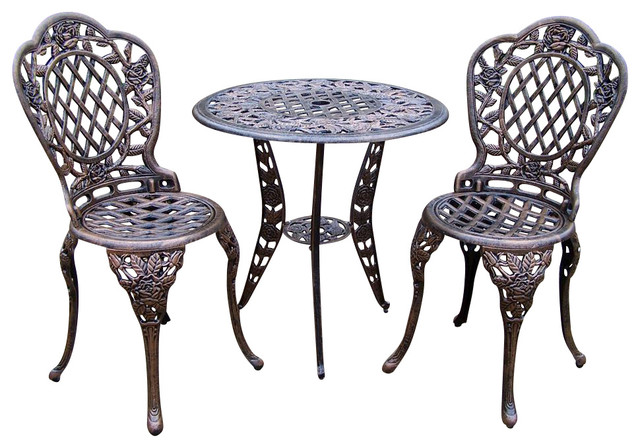 3 Pc Bistro Table Set in Antique Bronze, Tea Rose - Contemporary