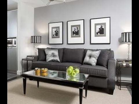 Living room grey walls black furniture interior design ideas - YouTube