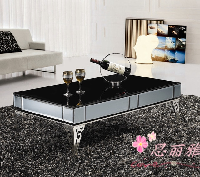 metal coffee table /coffee table for living room/black glass coffee