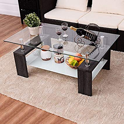 Amazon.com: Costway Black Rectangular Tempered Glass Coffee Table w