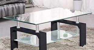 Amazon.com: SUNCOO Coffee Table Glass Top with Shelves Home
