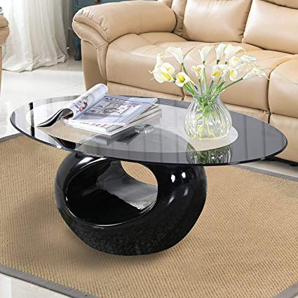 Amazon.com: Mecor Black Oval Glass Coffee Table with Round Hollow