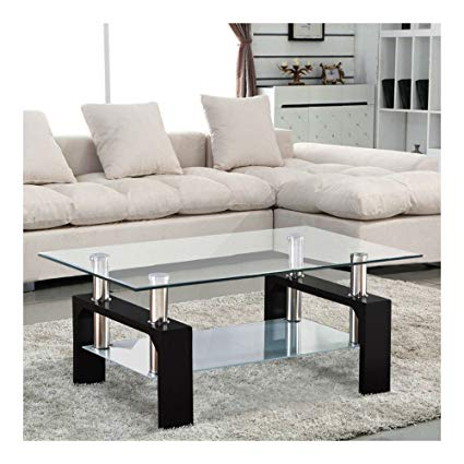 Amazon.com: Modern Rectangular Black Glass Coffee Table Chrome Shelf