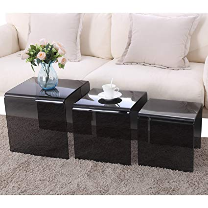 Amazon.com: Mecor Nesting Table Set of 3 Glass Side End Coffee Table