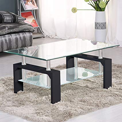 Amazon.com: SUNCOO Coffee Table Glass Top with Shelves Home