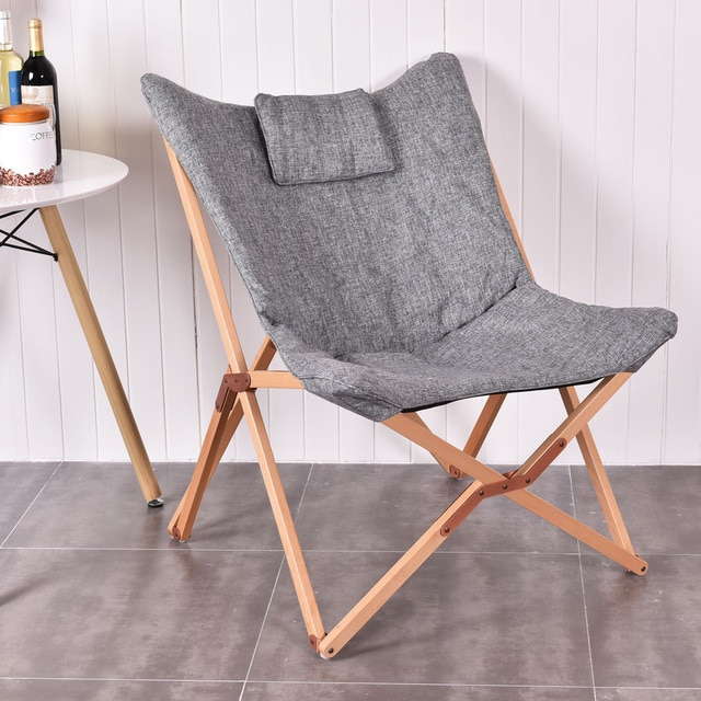 Giantex Home Outdoor Folding Butterfly Chair Seat Wood Frame Gray