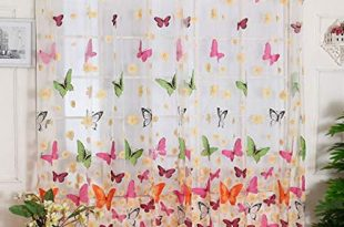 Amazon.com: Outtop Butterfly Print Sheer Window Panel Curtains Room