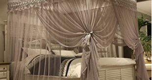 Amazon.com: Mengersi Princess 4 Corners Post Bed Canopy Bed curtains