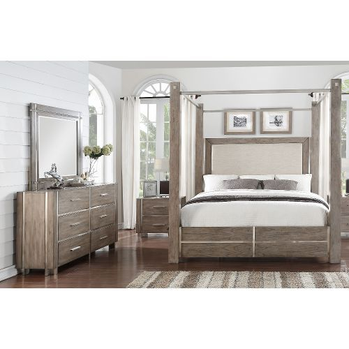 Clearance Contemporary Gray 7 Piece Queen Canopy Bedroom Set - Buena