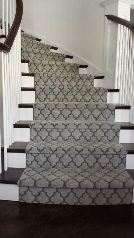 Geometric Modern Stair Runner Gray Colour runner on stairs in