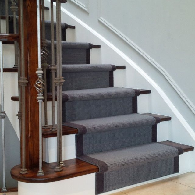 Grey carpet stair runner on dark wood stairs | House ideas