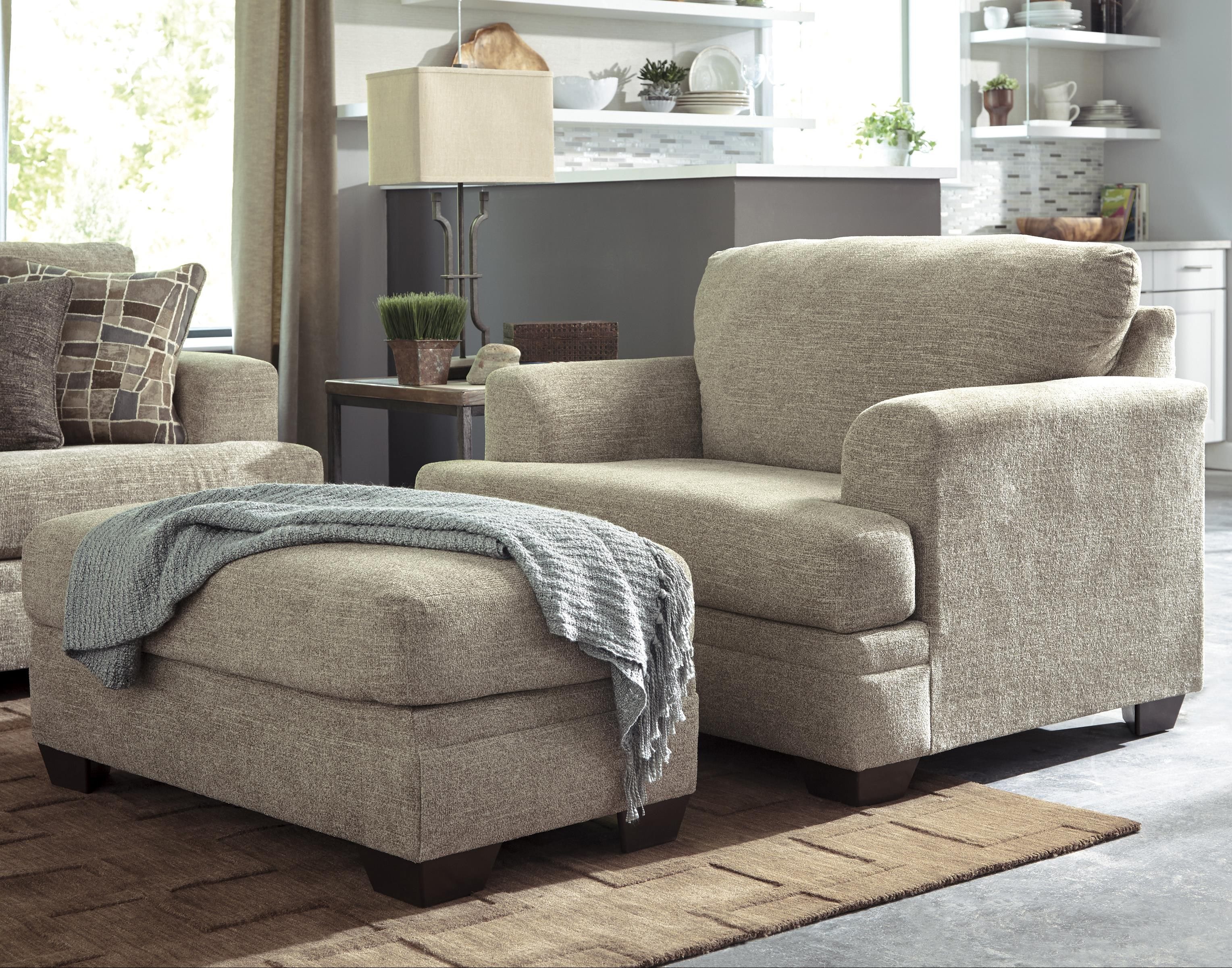 Benchcraft Barrish Contemporary Chair and a Half & Ottoman | Gallery