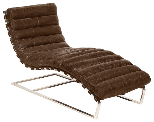 Oviedo Leather Chaise Lounge - Contemporary - Indoor Chaise Lounge