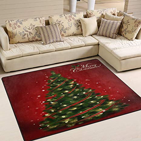 Amazon.com: ALAZA Red Merry Christmas Tree Area Rug Rugs for Living