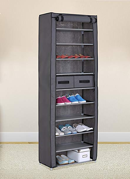 Amazon.com: Grey 10 Tiers Shoe Rack with Dustproof Cover Closet Shoe
