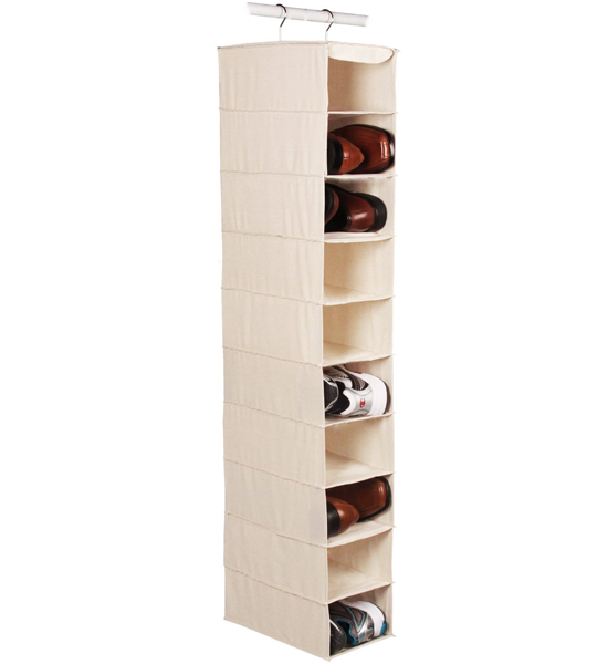 Large Hanging Closet Shoe Organizer - 10 Pocket in Hanging Shoe