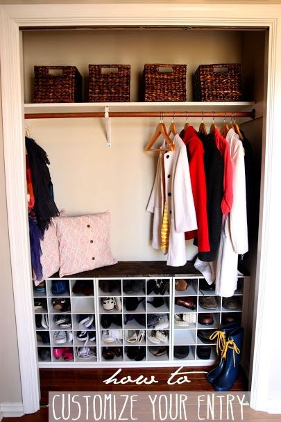 DIY entry closet with built in shoe storage #builtins #diy