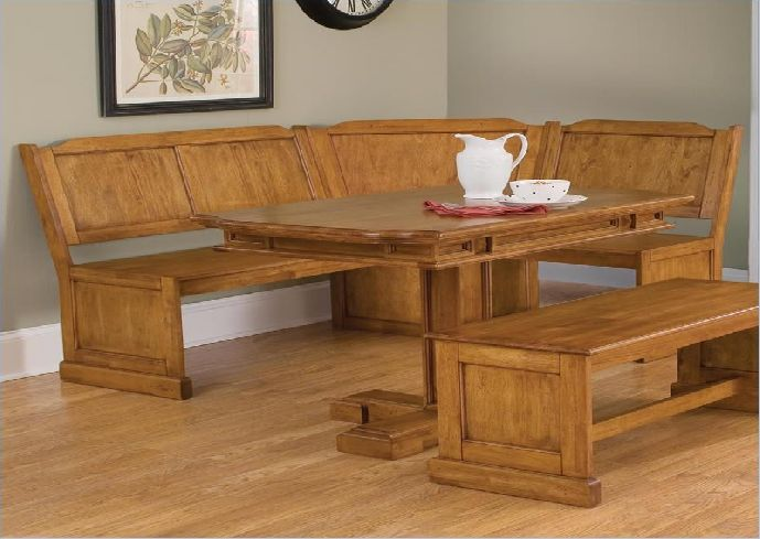 Rustic Kitchen Design with Corner Booth Kitchen Table Set