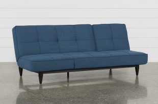Paige Blue Convertible Sofa Chaise Sleeper   Living Spaces
