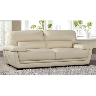 Cream Faux Leather Sofa | Wayfair