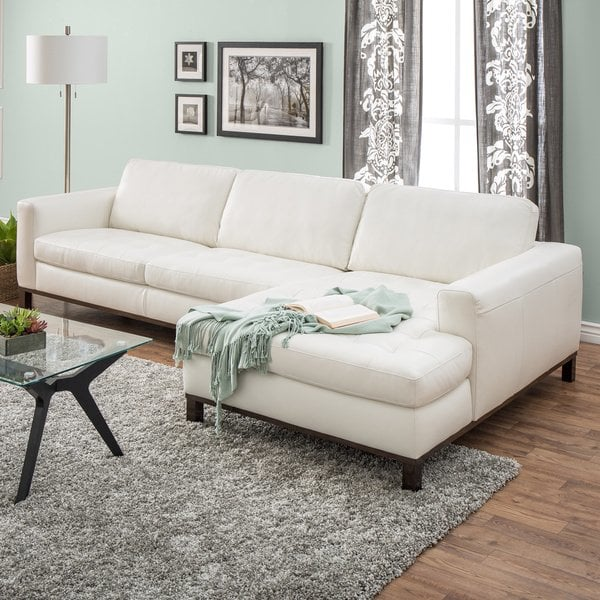Shop Natuzzi Lindo Cream Leather Sectional - Free Shipping Today