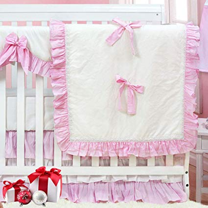 Amazon.com: Brandream Crib Bedding Sets for Girls Lace Ruffle