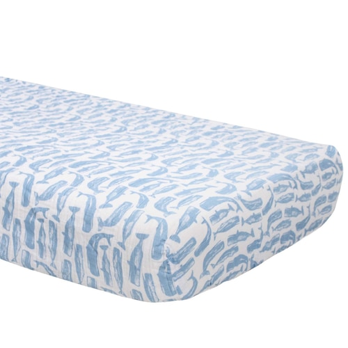 Muslin Crib Sheet, Whales - Spearmint Ventures, LLC