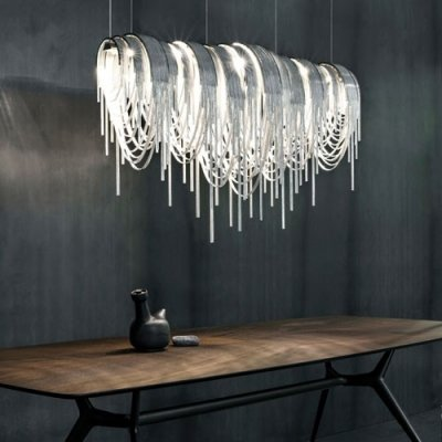 hua Designer Lighting Chain Hanging Large Linear Pendant - - Amazon.com
