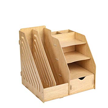 HomJoy Multi-Functional Wooden Desktop Organiser, DIY Desk Tidy