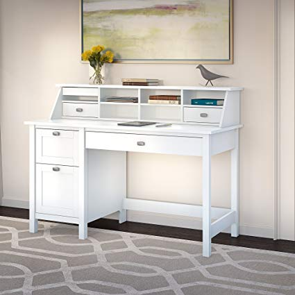 Amazon.com: Broadview Pure White Desk with Drawers and Organizer