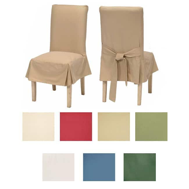 Shop Classic Cotton Duck Dining Chair Slipcovers (Set of 2) - Free