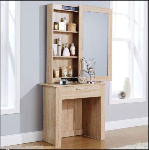 White Dressing Table Sliding Mirror Stool Vanity Shelves Drawer