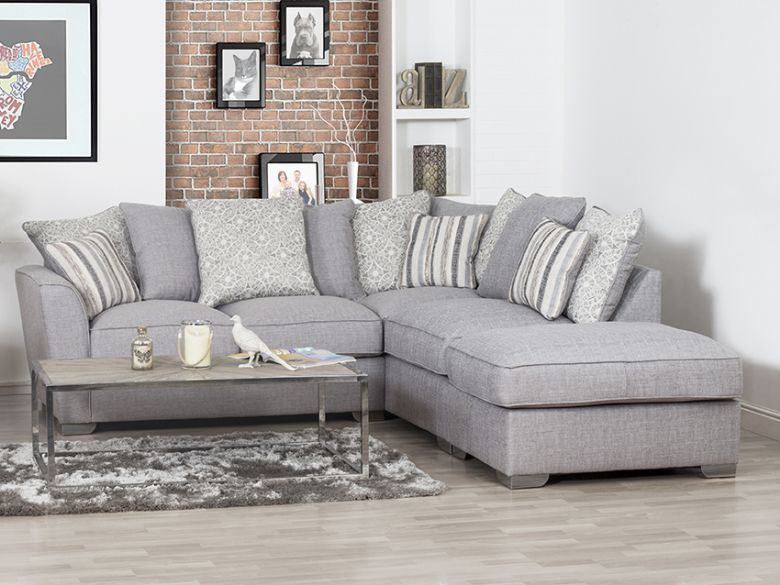 Revo LHF Fabric Corner Sofa with Stool - Furniture Barn