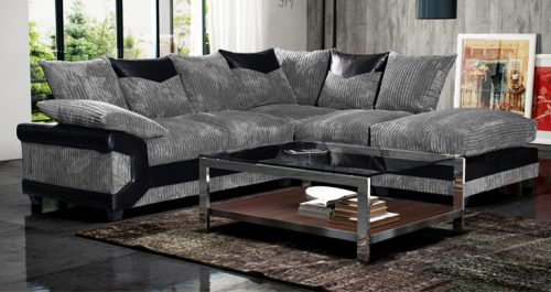 Camellia Fabric Corner Sofa : Black And Grey - High Quality Cheap