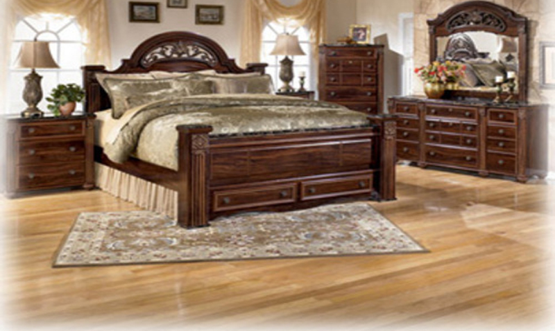 Dark cherry finish bedroom furniture